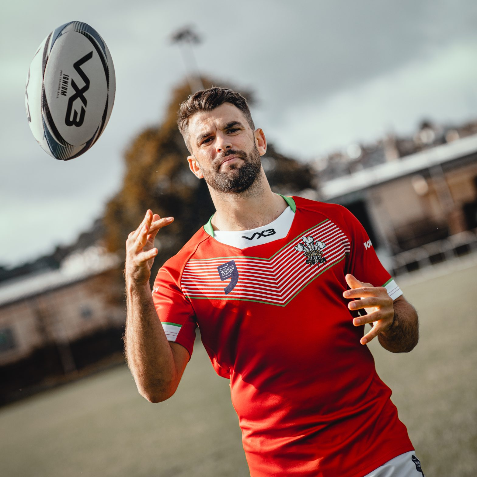 Wales men's team captain Elliot Kear models some of the new kit